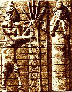 Ninhursag with the spirit of the forests next to the seven spiked cosmic tree of life. Relief from Susa.
