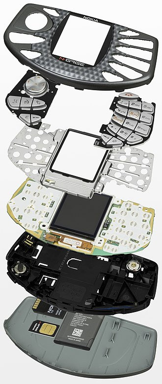 N-Gage (device) - A disassembled N-Gage, showing each layer of hardware