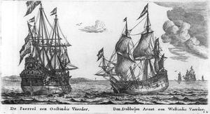 Reinier Nooms - Reinier Nooms: De Paerrel een Oostindis Vaerder, Den Dubbelen Arent een Westindis Vaerder, c. 1650