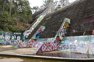 North Rocks, New South Wales - Rear of the North Rocks Dam Wall, about 30m in height.