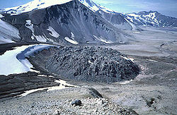 Novarupta rhyolite lava dome in Katmai National Park, Alaska. It was the source vent for a major eruption in 1912, causing the summit of nearby Katmai to collapse and creating the Valley of Ten Thousand Smokes.