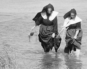 Gathering seafood by hand -  Nuns clam digging on Long Island, photographed by Toni Frissell (September 1957)