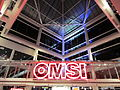 OMSI entrance sign at night, Portland, OR.JPG