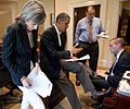Obama and aides working on a speech cropped.jpg