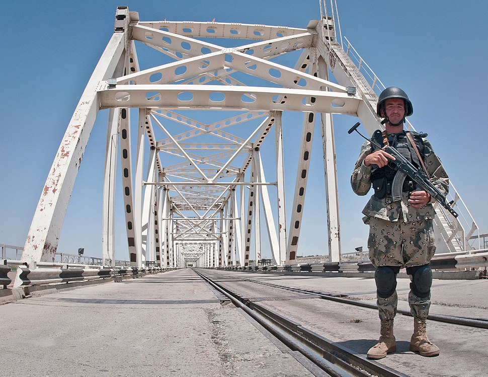 Officer of the Afghan Border Police at the Afghanistan–Uzbekistan Friendship Bridge