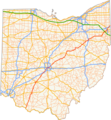 Ohio Highway Map with US Highway 62 highlighted in red.png