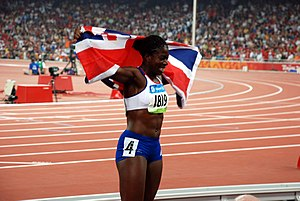 Great Britain at the 2008 Summer Olympics - Christine Ohuruogu after her victory in the women's 400 m.