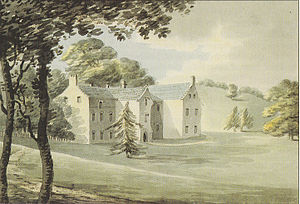 "Nutwell - ""Old Nutwell, seat of late Sir Francis Drake"". Undated watercolour by Rev. John Swete (d.1821) made before 1799 when the present neo-classical house was built in its place"