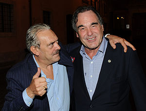 "Oliver Stone - Oliver Stone with Rino Barillari in ""Piazza dé Ricci"" exit of the restaurant ""Pierluigi"" in Rome – September 25, 2012"