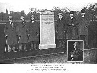 Oneida Football Club - Six surviving members of the Oneida F.C. in the inauguration of the monument that remembered the team, 1925.