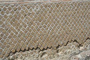Opus reticulatum - Opus reticulatum used on the exterior wall of Hadrian's Villa, which was used as a retreat for the Roman Emperor Hadrian in the early 2nd century.