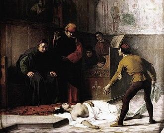 Gonfaloniere of Justice - The body of a dead woman is brought before the Gonfaloniere of Justice in 1425, the legendary origin of the Compagnia della Misericordia, by Eleuterio Pagliano.