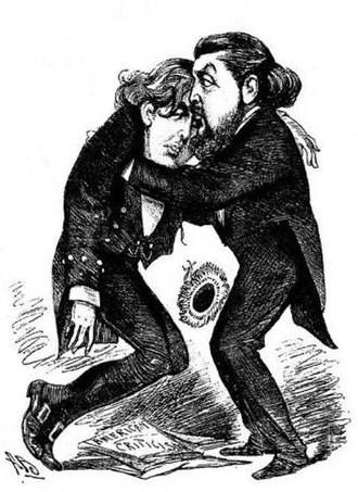 """Willie Wilde - """"Brother Willie- """"Never mind, Oscar; other great men have had their dramatic failures!"""" 1883 cartoon by Alfred Bryan after the failure of Oscar Wilde's play Vera; or, The Nihilists in America"""