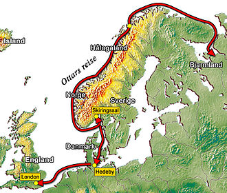 Bjarmaland - A Norwegian map of the voyage of Ohthere