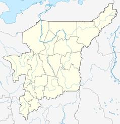 """Mapa konturowa Komi, na dole po lewej znajduje się punkt z opisem """"Syktywkar"""""""