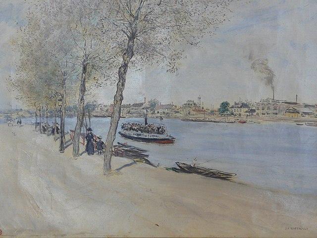 """""""Au bord de l'eau"""", peinture de Rafaelli au musée des Beaux-arts de Nice."""