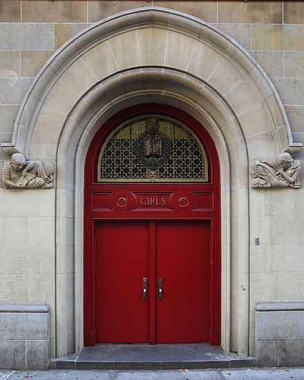 The girls' entrance to a school; the boys use or used an equivalent door. PS116 girls door.jpg