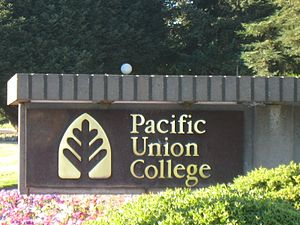 Pacific Union College - Entrance sign on the campus of Pacific Union College