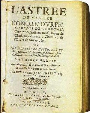 Honoré d'Urfé - Image: Page de garde d'une édition de L'Astrée du XVI Ie siècle