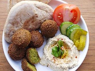 Palestinian cuisine - Falafel and Hummus.