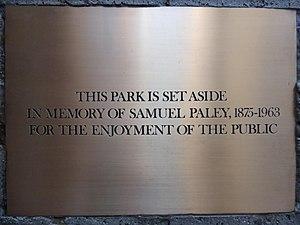 Paley Park - Plaque