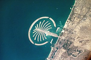 Dubai World - Nakheel's man-made island Palm Jumeirah seen from the International Space Station in 2005.
