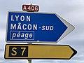 Panneaux Directions Gare Péage Crottet Autoroute A406 Crottet 3.jpg