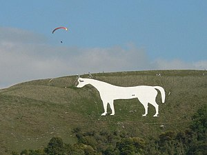 Hill figure - The 18th-century Westbury White Horse near Westbury, Wiltshire