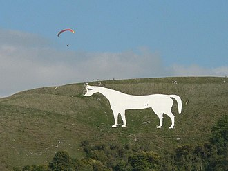Hill figure - The 18th-century Westbury White Horse near Westbury, Wiltshire