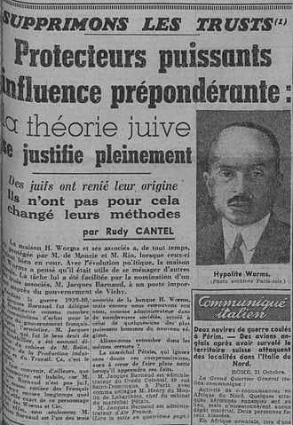 Banque Worms - Paris-soir 23 October 1940. Antisemitic and anti-trust article attacking Worms