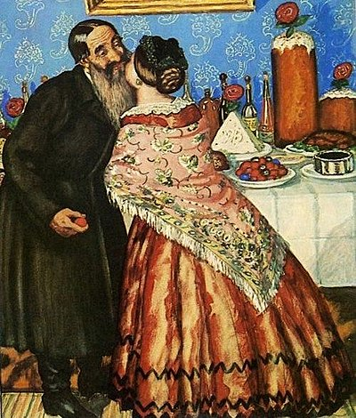 Boris Kustodiev's Pascha Greetings (1912) shows traditional Russian khristosovanie (exchanging a triple kiss), with such foods as red eggs, kulich and paskha in the background. Paskhakustodiev.jpg