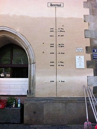 Inn (river) - Image: Passau Pegel Rathaus 8 6 2013