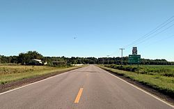 Photo of a flat, agricultural landscape with a black asphalt roadway running directly toward a tree line on the distant horizon.