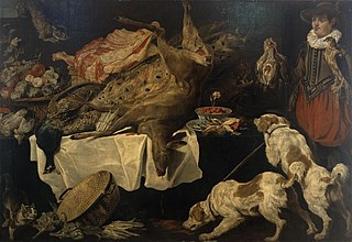 Hunter and Dogs by a Table with Dead Game and Fruit