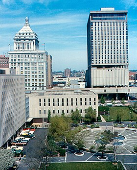 Peoria - Downtown from Caterpillar, Courthouse Square, First National Bank and Savings Tower.jpg