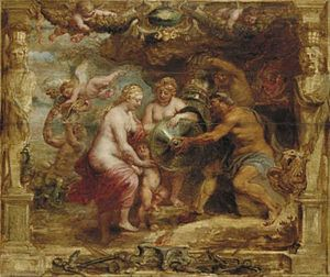 Hephaestus - Vulcan Presenting the Arms of Achilles to Thetis by Peter Paul Rubens.