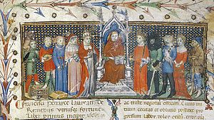 Scarlet (cloth) - Illustration of social classes, italy, c. 1400. It would be characteristic that the king (right of centre) and bishop (left of centre) were dressed in scarlet.