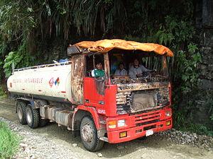 Tank truck - A petroleum tanker truck in Bolivia