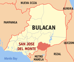 Map of Bulacan showing the location of San Jose del Monte.