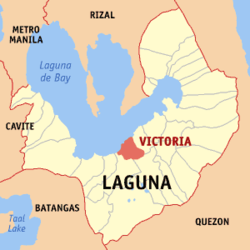 Map of Cavite showing the location of Victoria.