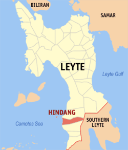 Map of Leyte with Hindang highlighted