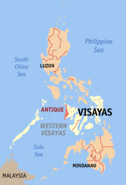 Map of the Philippines with Antique highlighted