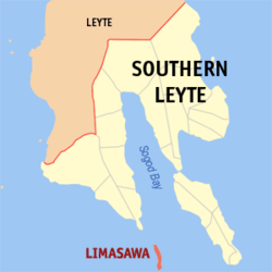 Map of Southern Leyte with ലിമസാവ highlighted