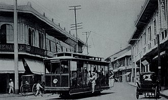 Transportation in Metro Manila - An American trolley in a Manila street, 1905