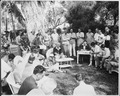 """Photograph of President Truman responding to a question during his press conference in the garden of the """"Little... - NARA - 200560.tif"""