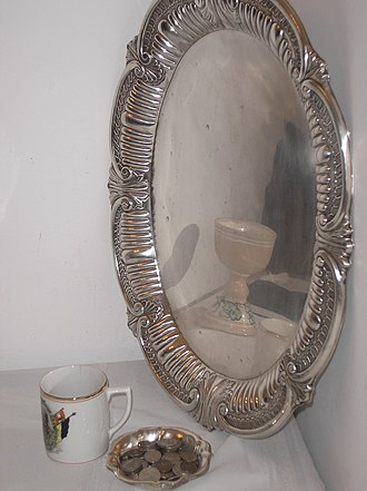 Pidyon haben - The silver tray, the silver coins and the glass for the wine