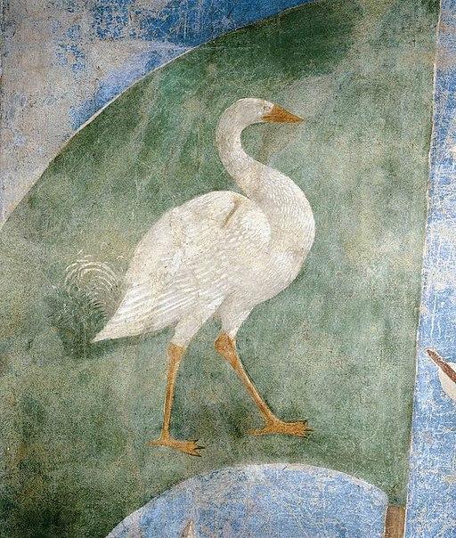 Piero della Francesca, Le Storie della Vera Croce, Battaglia di Eraclio e Cosroè(particolare della bandiera dell'oca, simbolo di vigilanza)