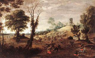 Landschap met ruitergevecht