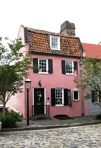 Charleston, South Carolina - The Pink House, the oldest stone building in Charleston, was built of Bermudian limestone at 17 Chalmers Street, between 1694 and 1712