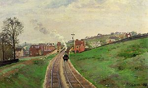 London, Chatham and Dover Railway - Lordship Lane Station, an intermediate station on the Crystal Palace and South London Junction Railway, a LCDR branch line in London, by Camille Pissarro